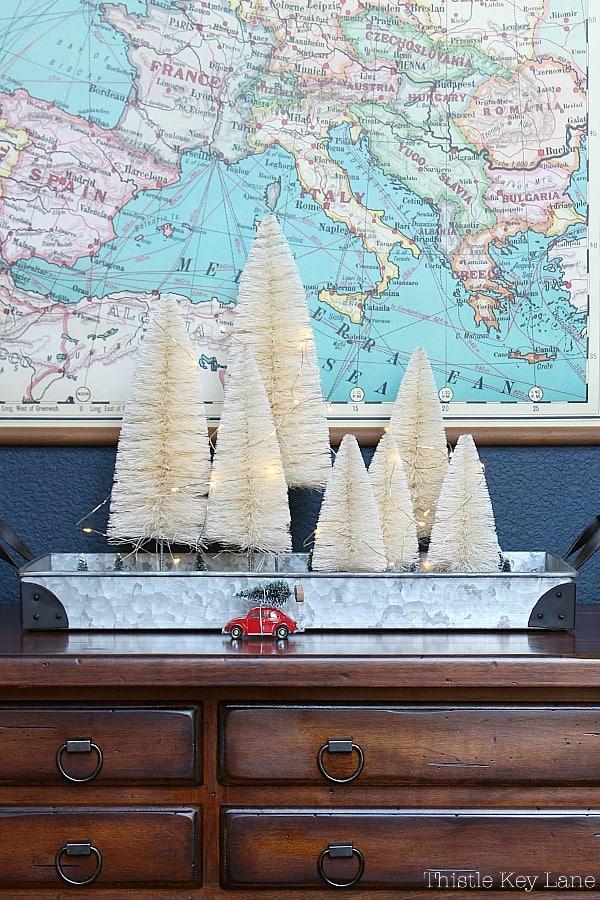 Bottle Brush Christmas Tree Vignette On A Tray