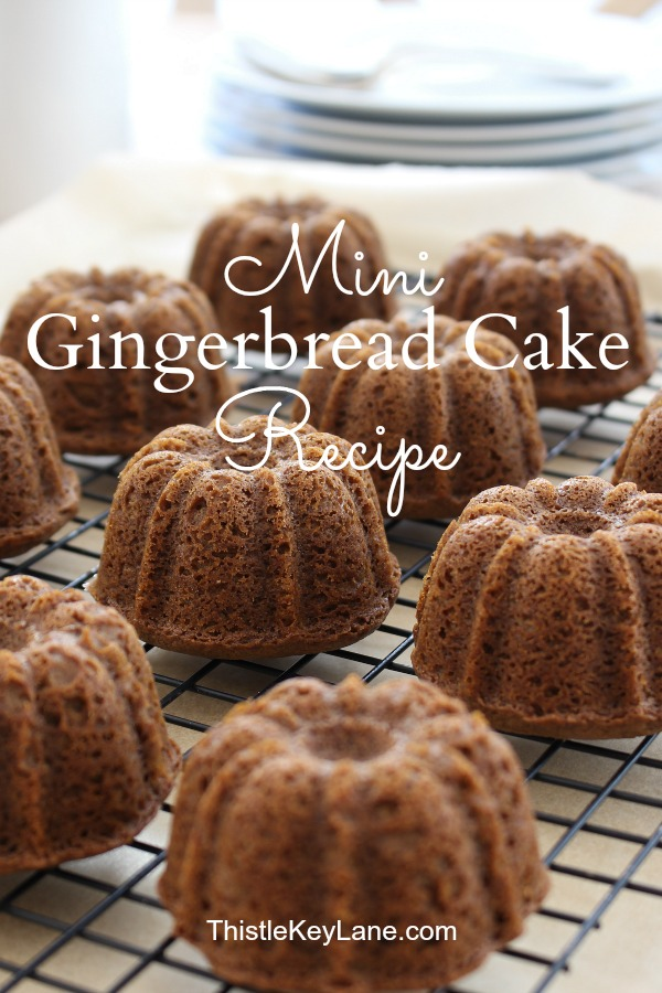 Mini Gingerbread Cake Recipe - mini cakes on wire cooling rack.