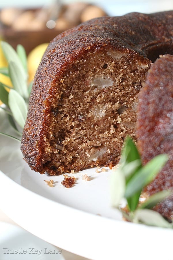 Side view of bundt cake sliced.