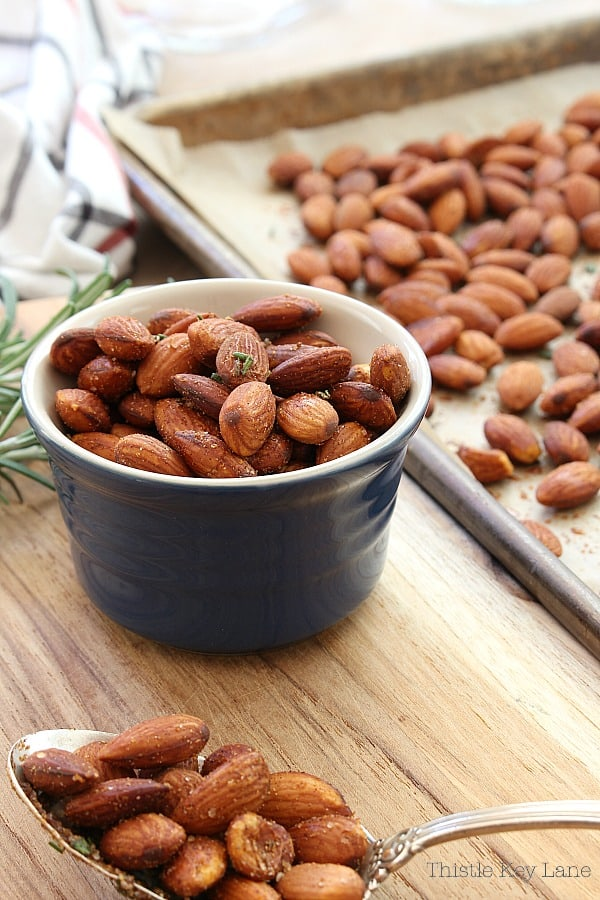 Bowl of roasted rosemary almonds