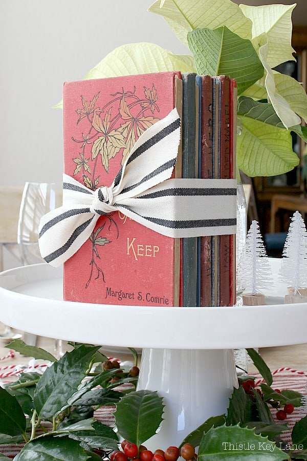 Vintage Ticking And Plaid Holiday Tablescape with books under a cloche.
