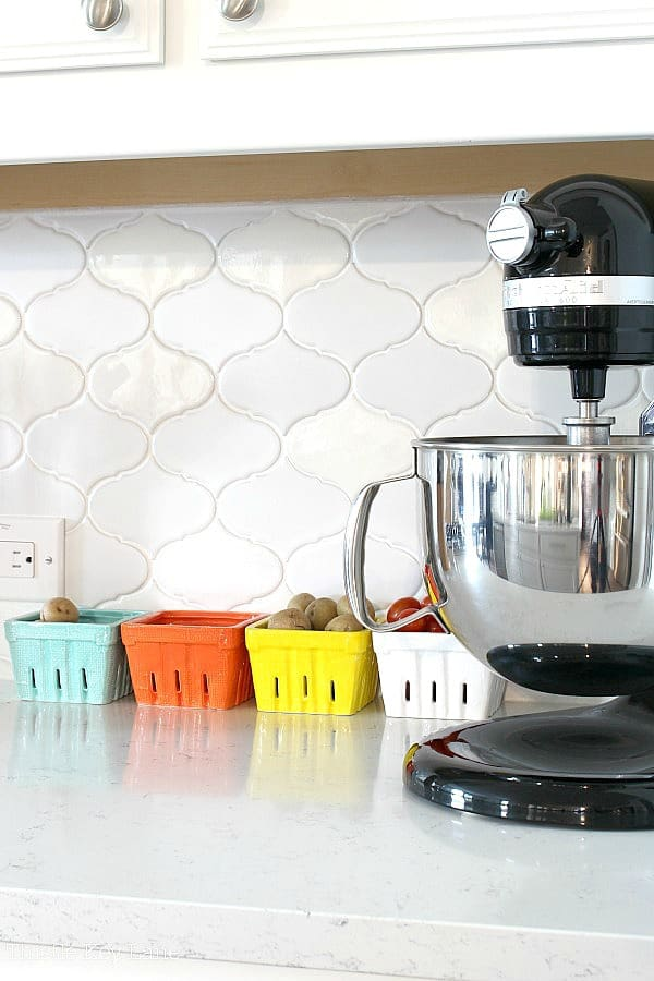 Simple counter storage with colored berry baskets