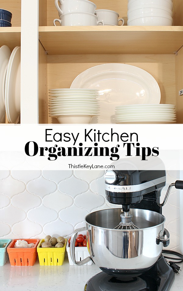 Easy Kitchen Organizing Tips - for cabinets and drawers.