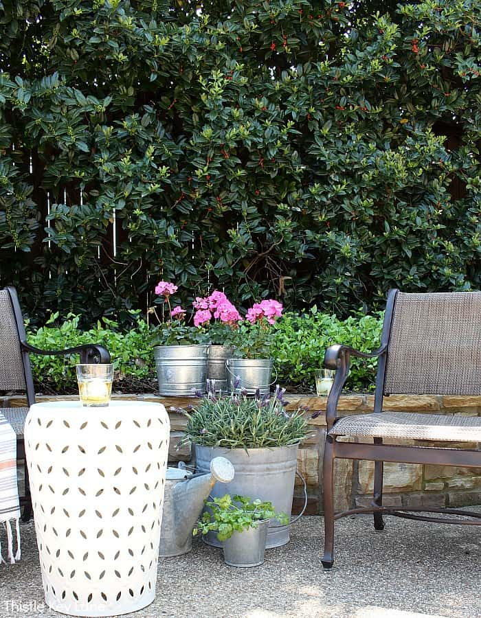 Simple Bucket Container Garden - With Outdoor Seating.