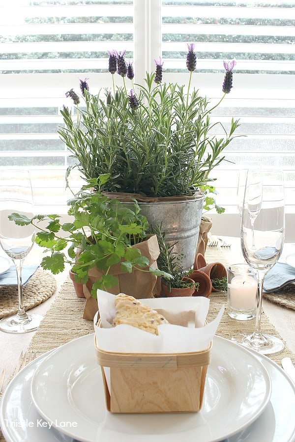 Garden Tablescape With Herbs - neutral table setting.