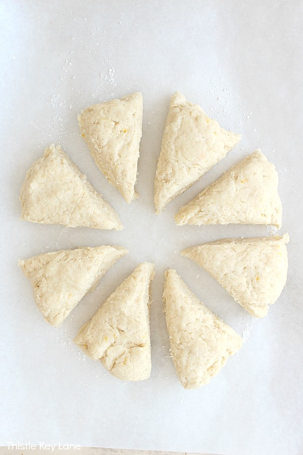 Scones cut into sections.