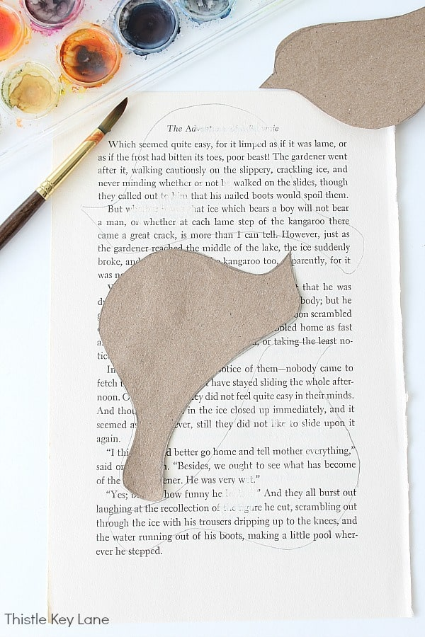 Book Page Bird Garland - trace and cut out.