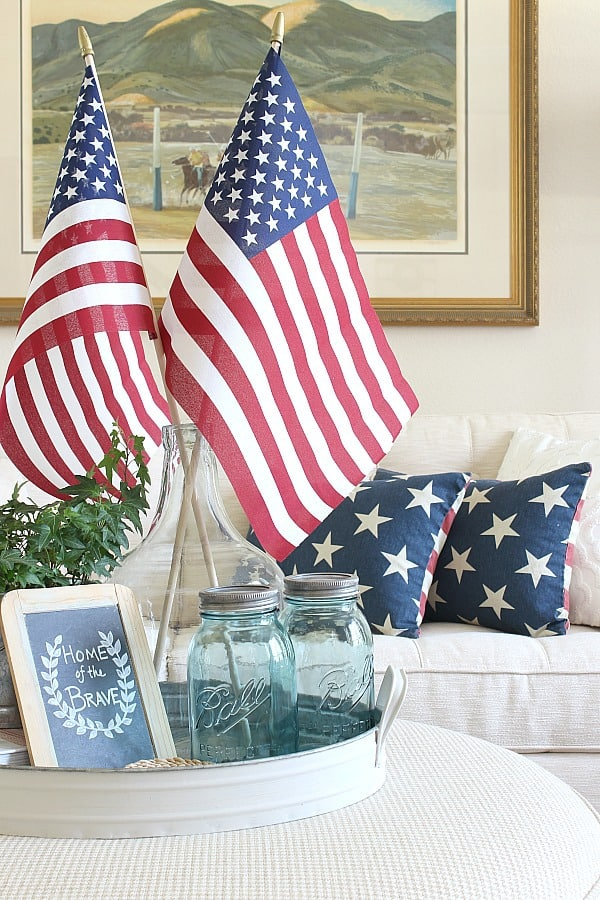 Create A Simple Patriotic Tray Vignette - with a collection of blue bottles and chalkboard.