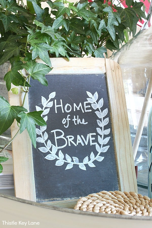 Chalkboard with Home Of The Brave.