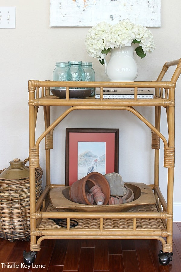 Styling A Bar Cart Three Ways - terra cotta pots, blue jars and hydrangeas.