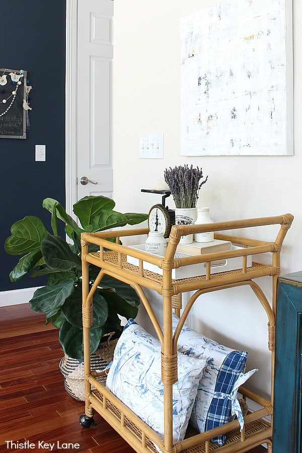 Styling A Bar Cart Three Ways - for display and storage.