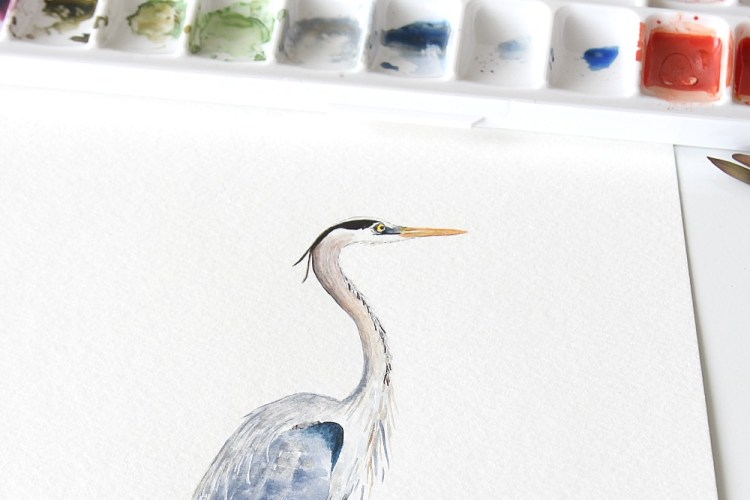 Heron Watercolors And A Look At My Studio