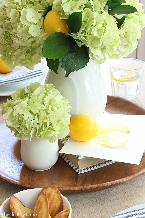 Hydrangea and lemon ironstone centerpiece. Summer Lemon Tablescape And A Free Printable.