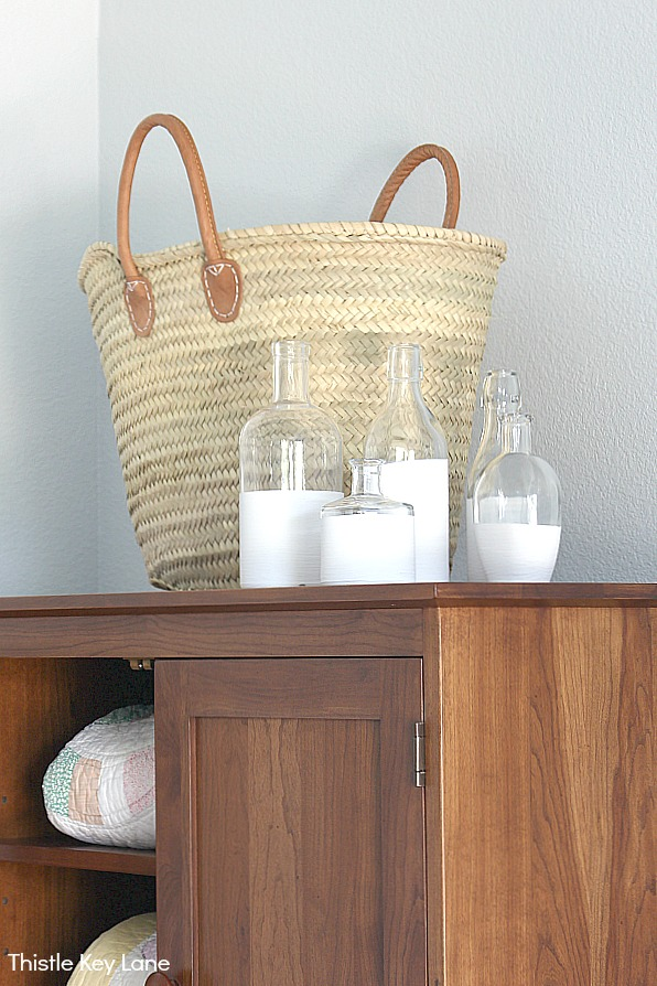 Vase collection with basket on armoire - How To Create Vases With Chalk Paint .