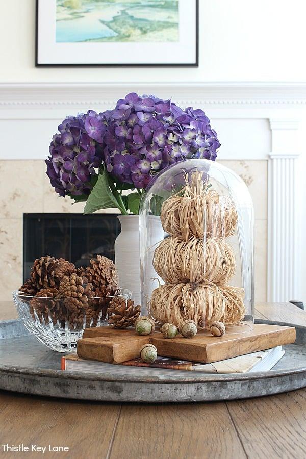 Vignette created with raffia pumpkins, a cloche, pinecones and purple hydrangeas.