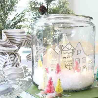 Snowy Village Houses In A Jar