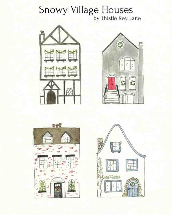 Village Houses for jar snow scene printable.