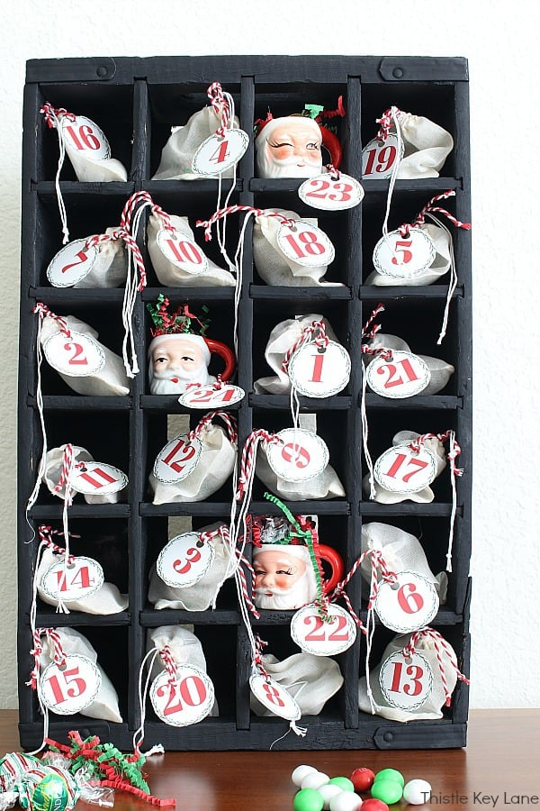 Soda crate used for an advent calendar. Advent Calendar Bags And Printable Numbers.