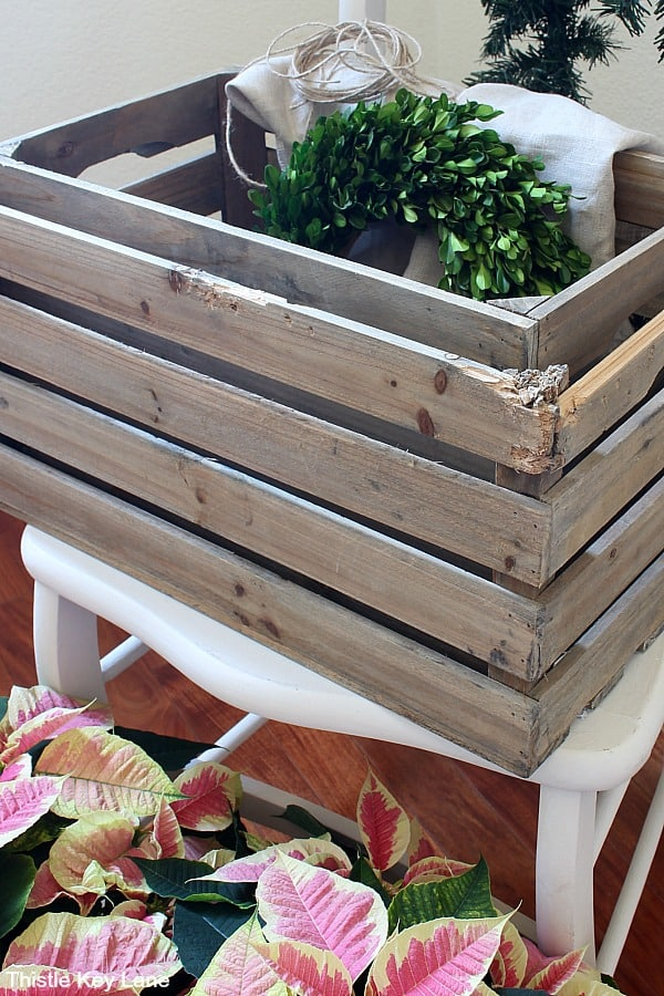 Rustic Crates For Displaying Poinsettias.