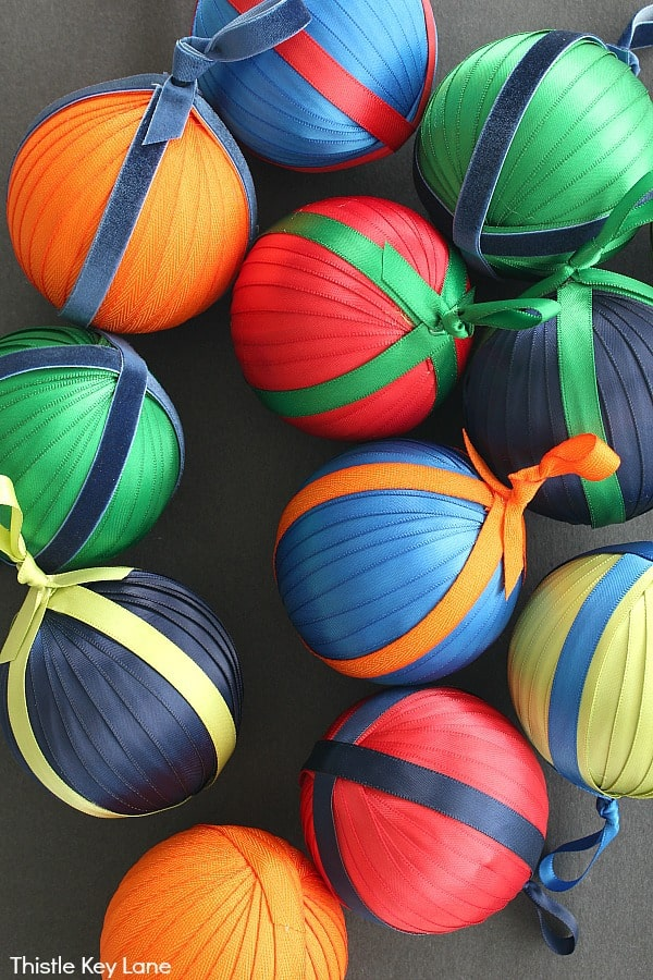 Satin Ornaments With Contrasting Colors - How To Make Ribbon And Ticking Christmas Ornaments.