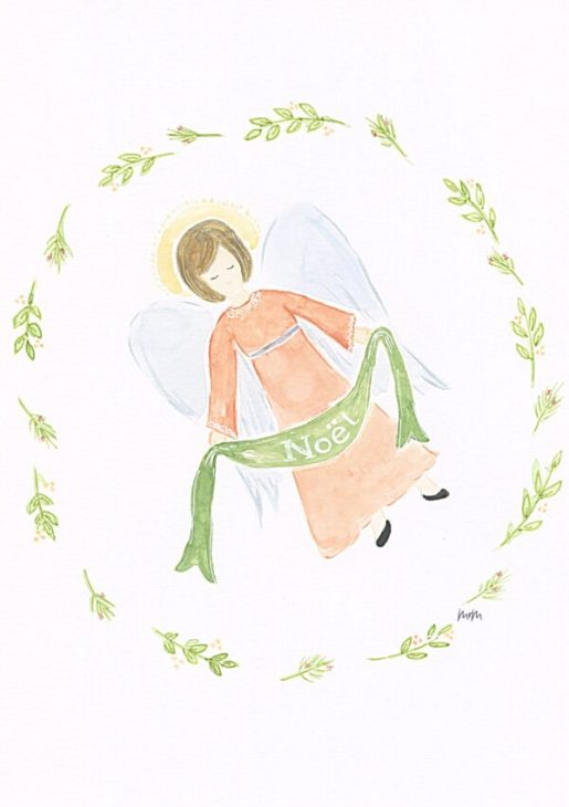 Hovering angel watercolor with Noel banner.