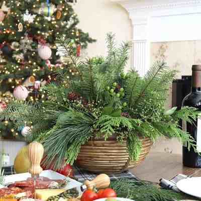 Evergreen Christmas Centerpiece And Tablescape