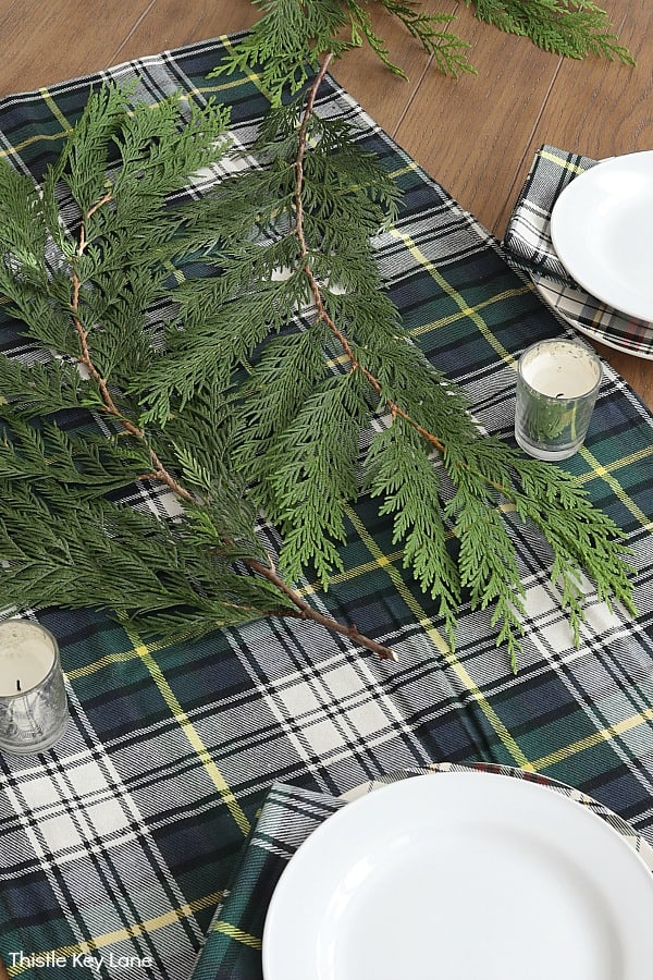Cedar clipping on top of plaid tablecloth.