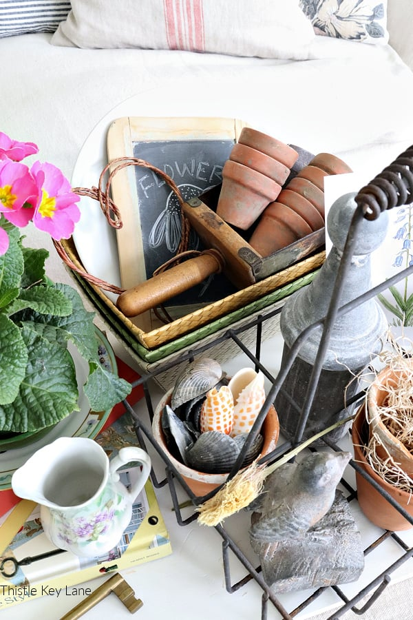 Flat lay view of vintage garden collection -Winter Botanical Inspired Vignette.