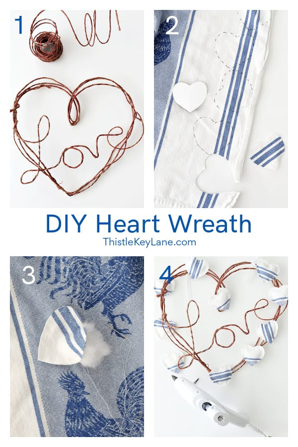 Step by step heart wreath collage. DIY French Country Style Heart Wreath.
