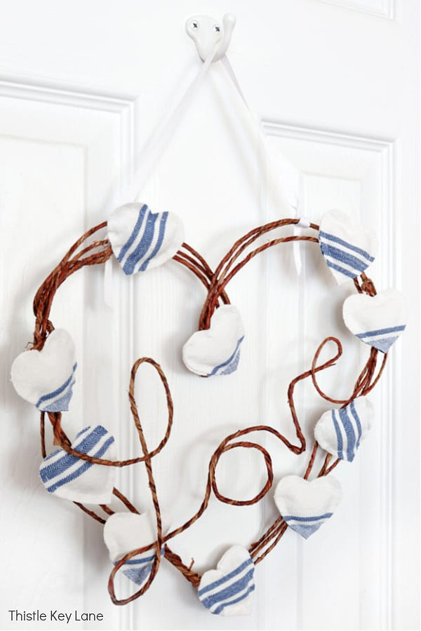 Blue and white stripe fabric hearts. Wire love sign. Heart Wreath. DIY French Country Style Heart Wreath.