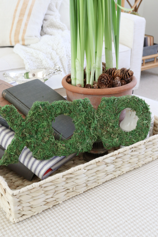 Decorative tray with moss letters and books. Moss Covered Letters For A Valentine Vignette