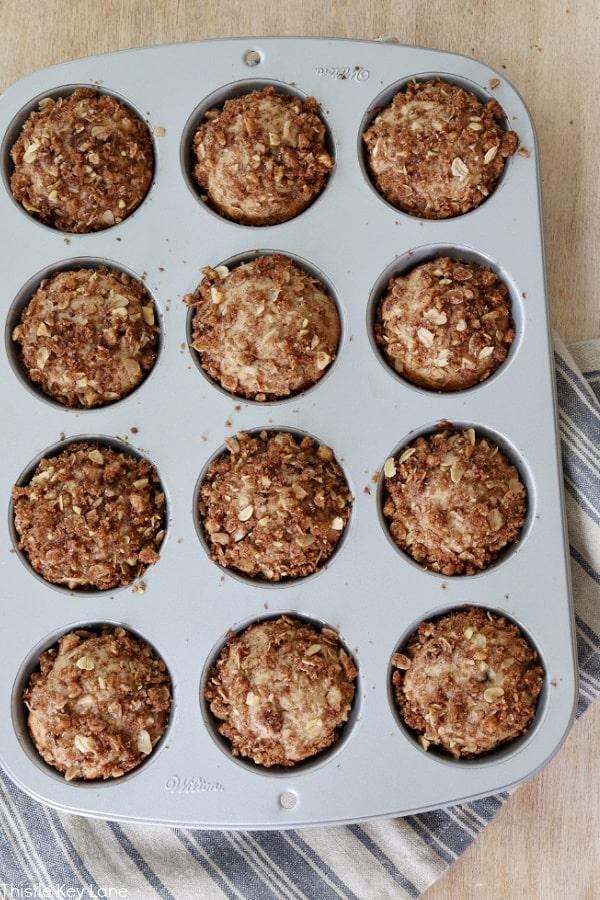 Muffins in a tin.