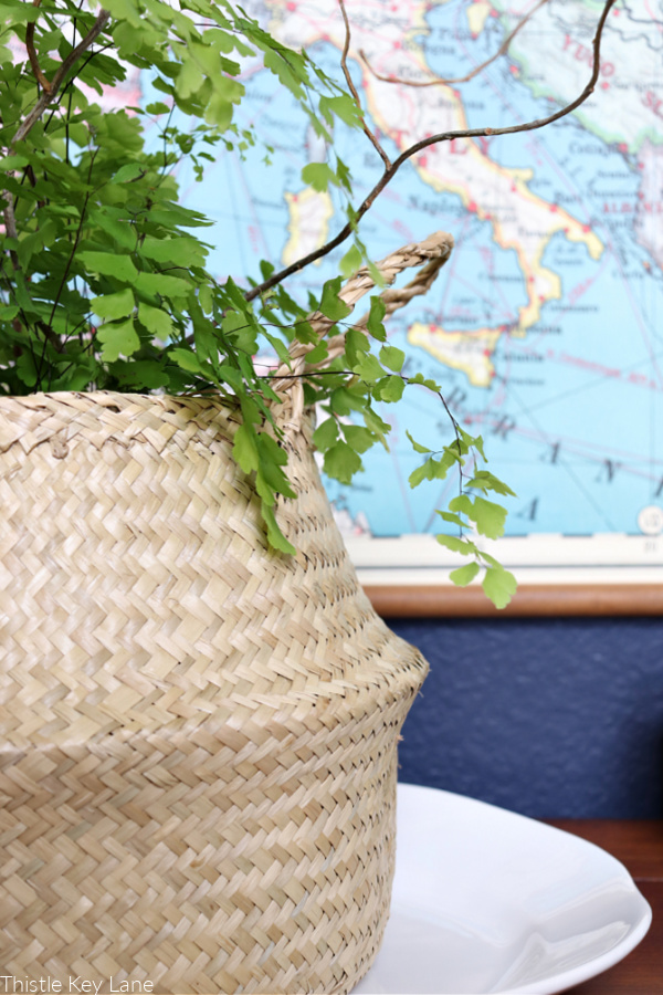 Maiden hair fern in neutral color basket.Early Spring Entry Table.