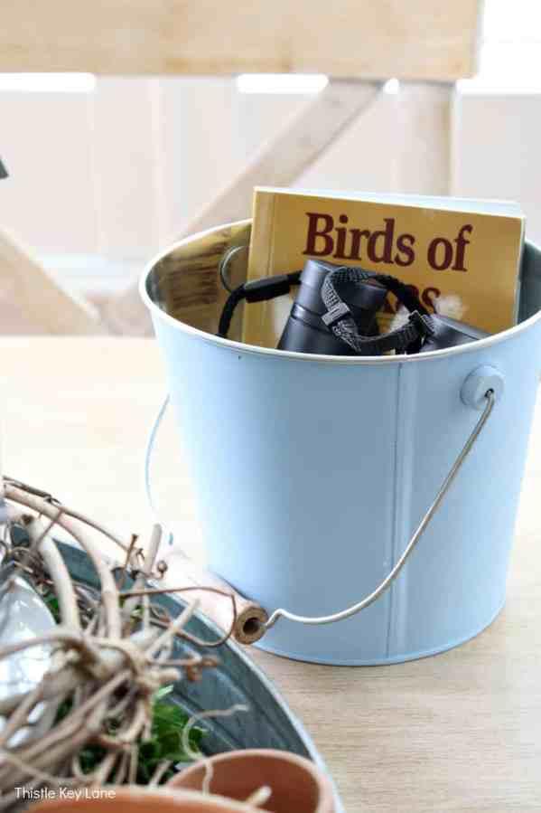 Blue bucket holding binoculars and bird book.
