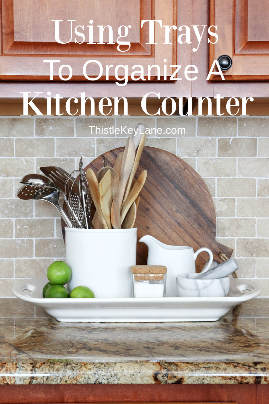 Using Trays To Control Kitchen Clutter.