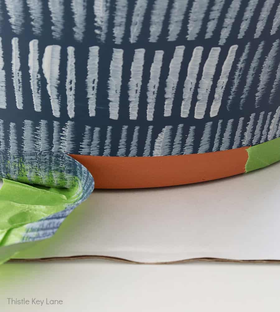 Painters tape creates a clean edge.