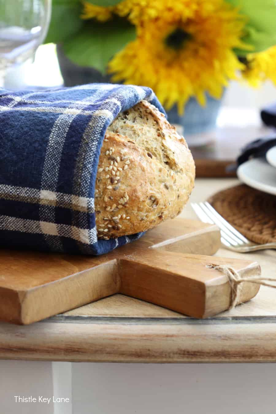 Harvest bread on a serving board.