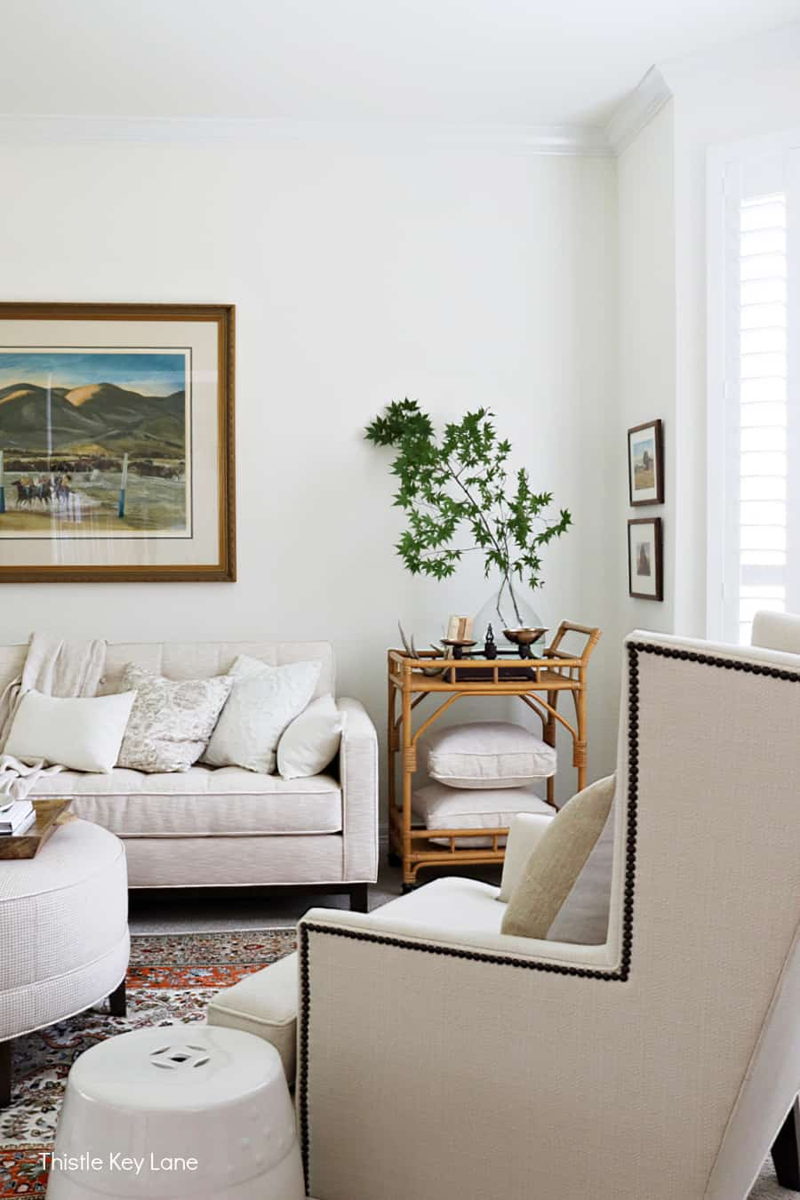 Neutral color living room furniture. Subtle Ways To Decorate For Fall.