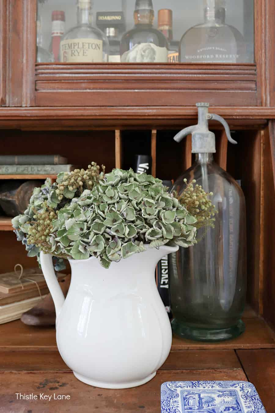 Dried hydrangeas in an ironstone pitcher. Subtle Ways To Decorate For Fall.