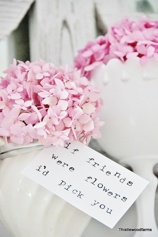 This cute friendship quote attached to the hydrangea vase is adorable.