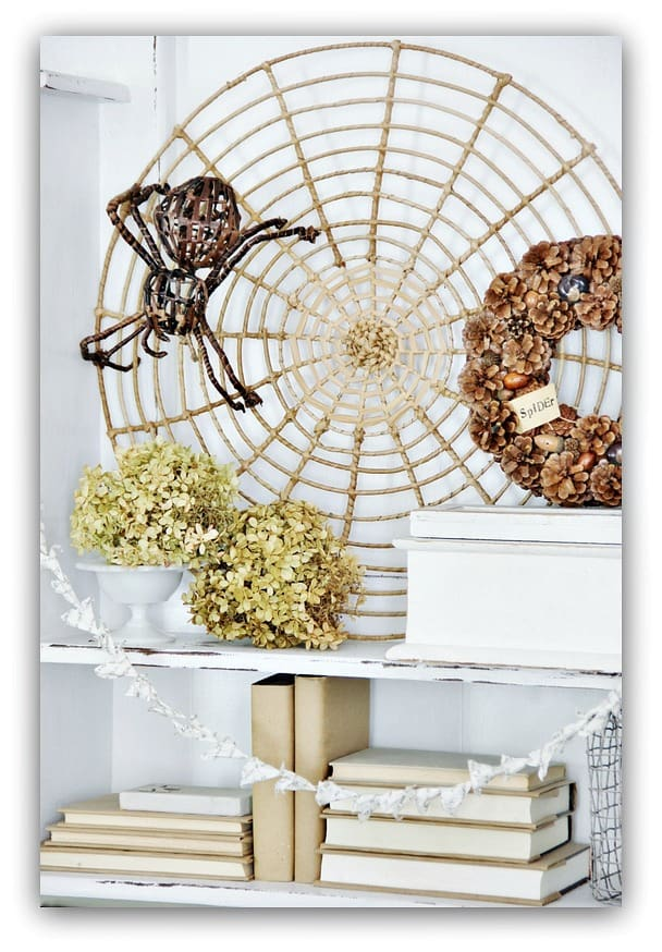 This decorative spider web with fake spider is a spooky and fun fall decor piece.