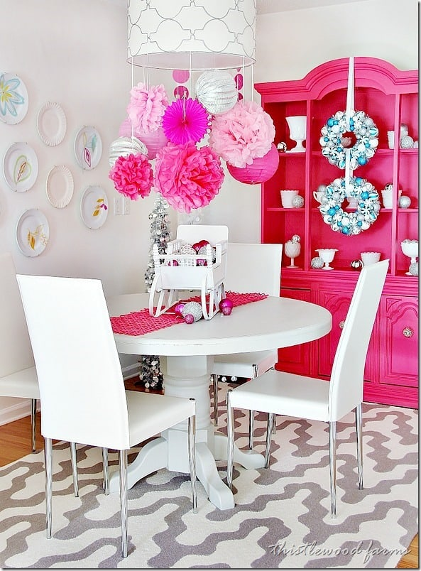 pink-and-blue-Christmas-dining room