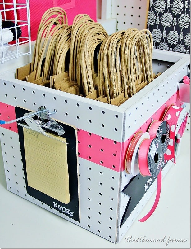 This pegboard box is perfect to hold all your wrapping supplies