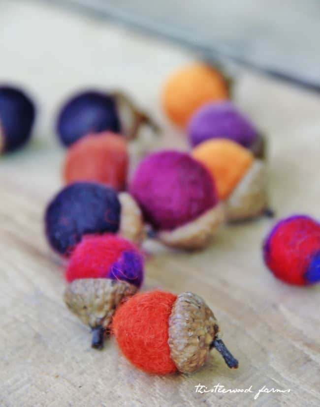 small felted acorns