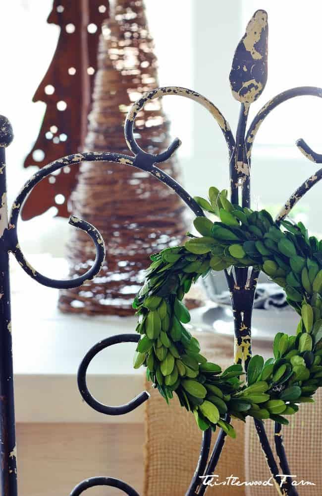 wreath on chair Christmas decorating