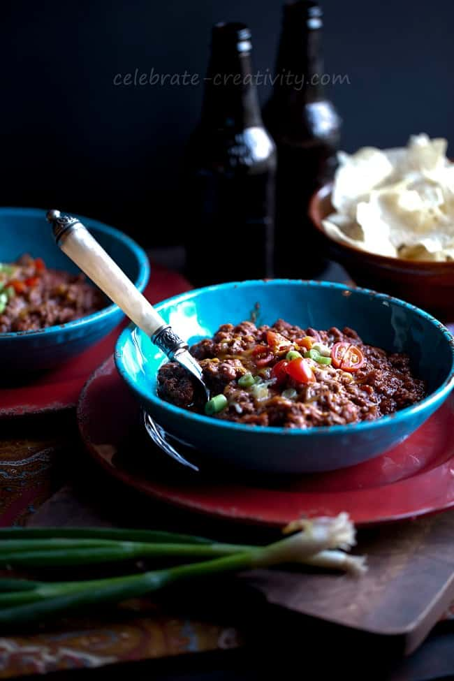 This bowl of chili is shot with a tripod, giving stability and height to the photo