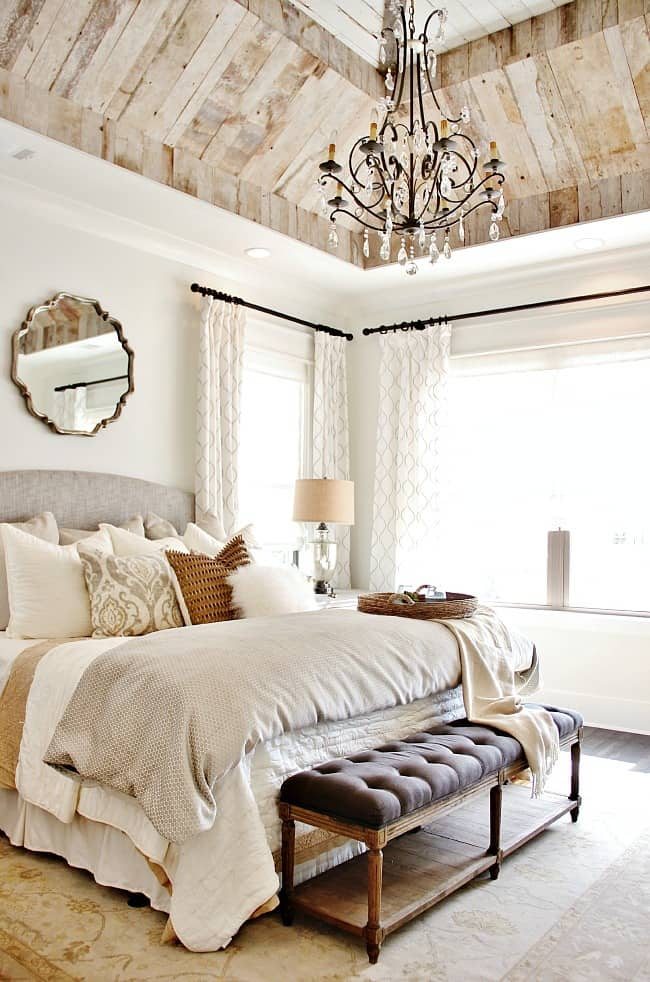 modern farmhouse bedroom with wood ceiling