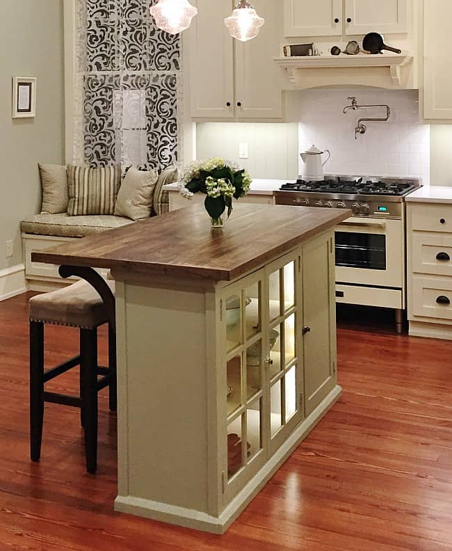 The after reveal of the finished kitchen island