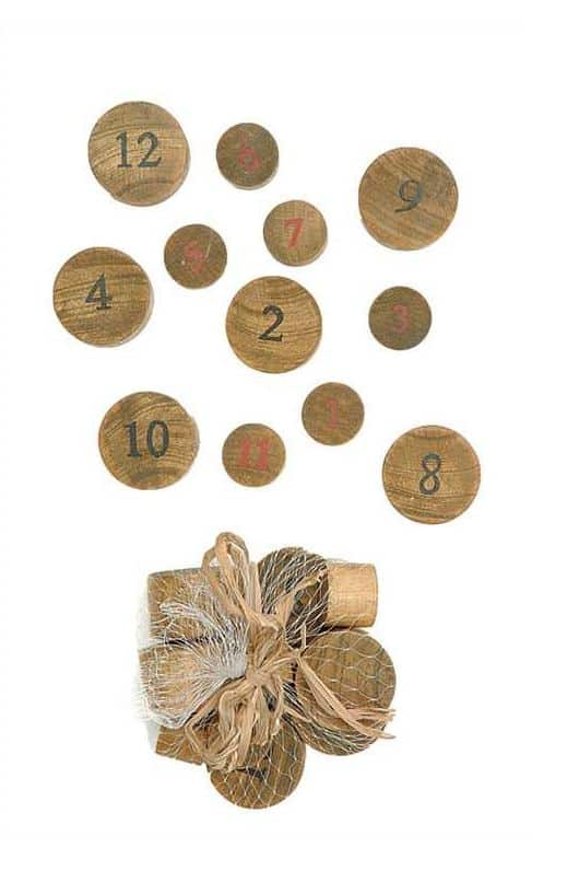 numbered wood slices