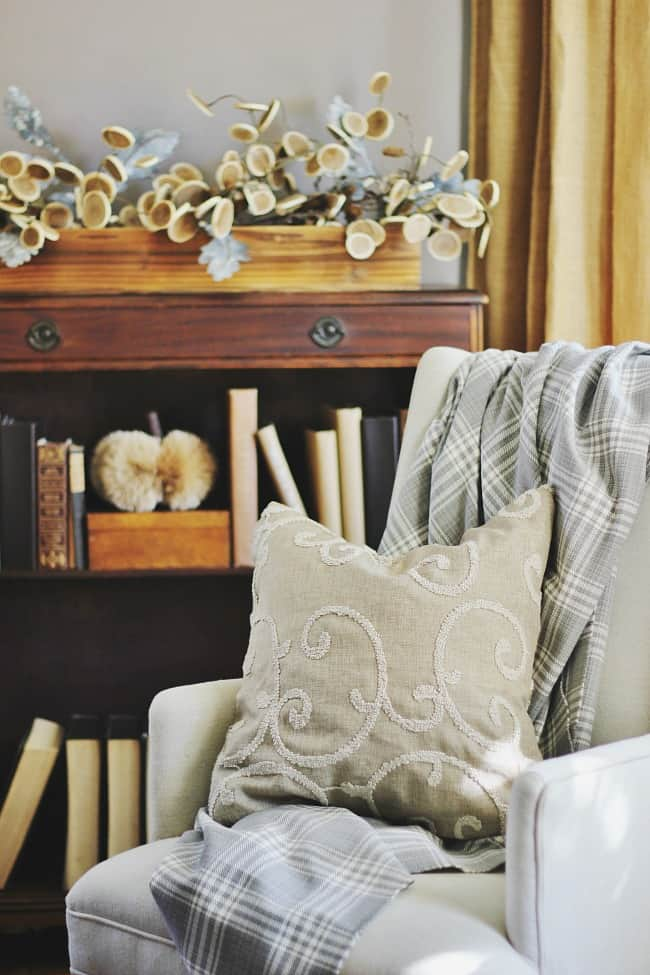 This classic wooden bookcase contrasts well with the cream love seat and pillow.